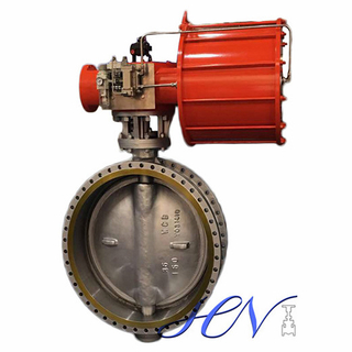 A216 WCB Pneumatic Flange Type Flow Control Triple Eccentric Butterfly Valve
