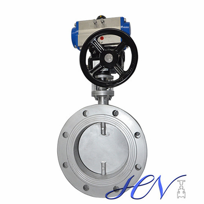 Pneumatic Actuated Flanged Stainless Steel Industrial Double Eccentric Butterfly Valve